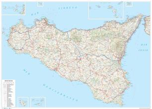 Cartina Strade Sicilia.Sicilia Carta Stradale Della Regione 1 250 000 Carta Murale Plastificata Stesa Con Aste Cm 120x86 Libro Global Map Ibs