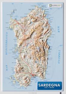 Warholgenova.it Sardegna 1:1.000.000 (carta in rilievo da banco con cornice cm 31,2x22,55) Image