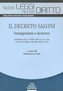 Il Decreto Salvini. Immigrazione e sicurezza - copertina