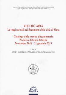 Voci di carta. Le leggi razziali nei documenti della Città di Siena - copertina