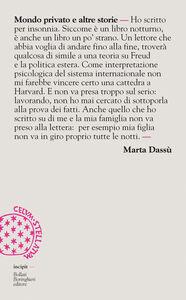 Foto Cover di Mondo privato e altre storie, Libro di Marta Dassù, edito da Bollati Boringhieri