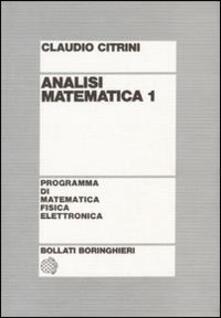 Analisi matematica 1 - Claudio Citrini - copertina