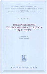 Foto Cover di Interpretazione del formalismo giuridico in E. Stein, Libro di Luisa Avitabile, edito da Giappichelli