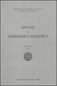 Libro Annali del seminario giuridico (2009). Vol. 53