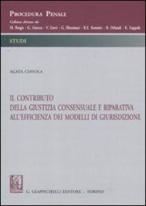 Libro Il contributo della giustizia consensuale e riparativa all'efficienza dei modelli di giurisdizione Agata Ciavola