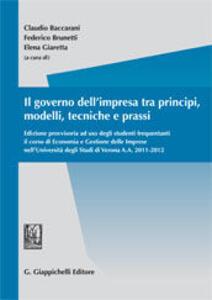 Il governo dell'impresa tra principi, modelli, tecniche e prassi