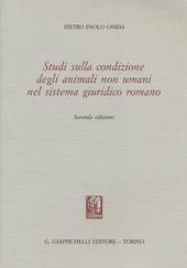 Studi sulla condizione degli animali non umani nel sistema giuridico romano