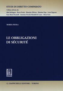 Foto Cover di Le obbligazioni di sécurité, Libro di Maria Feola, edito da Giappichelli