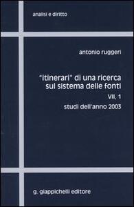 Itinerari di una ricerca sul sistema delle fonti. Vol. 7\1: Studi dell'anno 2003.