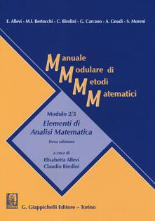 Radiospeed.it Manuale modulare di metodi matematici. Modulo 2/3: Elementi di analisi matematica Image