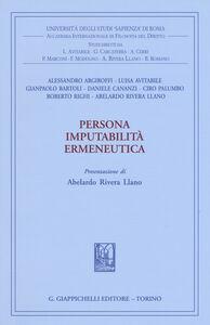 Libro Persona imputabilità ermeneutica