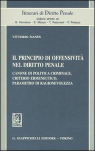 Libro Il principio di offensività nel diritto penale. Canone di politica criminale, criterio ermeneutico, parametro di ragionevolezza Vittorio Manes