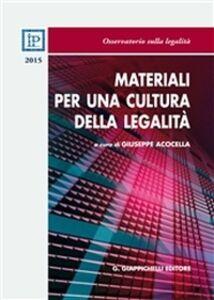 Foto Cover di Materiali per una cultura della legalità 2015, Libro di  edito da Giappichelli