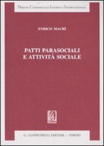 Libro Patti parasociali e attività sociale Enrico Macrì
