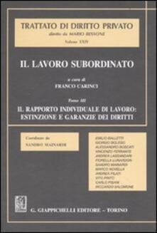 Festivalpatudocanario.es Il lavoro subordinato. Vol. 3: Il rapporto individuale di lavoro: estinzione e garanzie dei diritti. Image