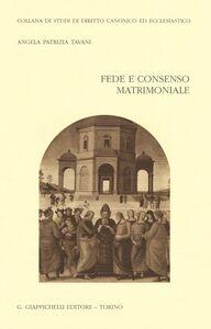 Libro Fede e consenso matrimoniale Angela P. Tavani