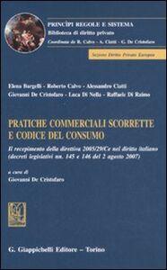Libro Pratiche commerciali scorrette e codice del consumo