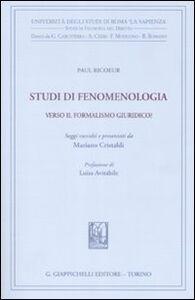 Libro Studi di fenomenologia. Verso il formalismo giuridico? Paul Ricoeur