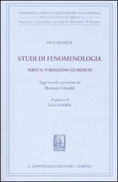 Studi di fenomenologia. Verso il formalismo giuridico?