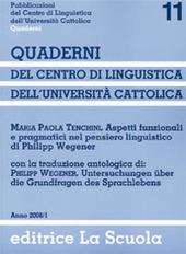 Aspetti funzionali e pragmatici nel pensiero linguistico di Philipp Wegener