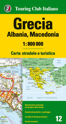 Grecia, Albania, Macedonia 1:800.000. Carta stradale e turistica. Ediz. multilingue - copertina
