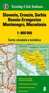 Libro Slovenia, Croazia, Serbia, Bosnia Erzegovina, Montenegro, Macedonia 1:800.000. Carta stradale e turistica. Ediz. multilingue