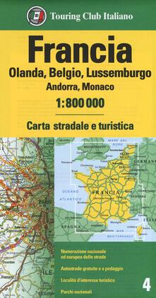 Luciocorsi.it Francia. Olanda, Belgio, Lussemburgo, Andorra, Monaco 1:800.000. Carta stradale e turistica Image