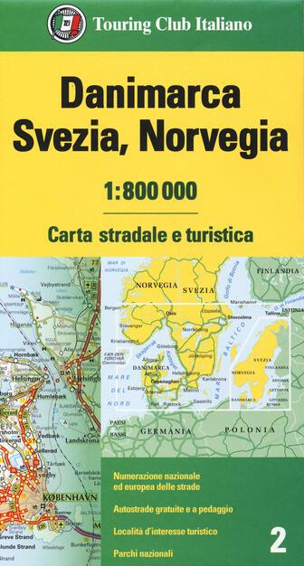 Cartina Geografica Norvegia Fisica.Danimarca Svezia Norvegia 1 800 000 Carta Stradale E Turistica Libro Touring Ibs