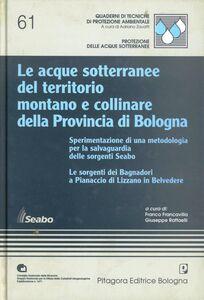 Foto Cover di Le acque sotterranee del territorio montano e collinare della provincia di Bologna. Sperimentazione di una metodologia per la salvaguardia delle sorgenti Seabo, Libro di  edito da Pitagora