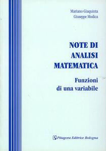 Note di analisi matematica. Funzioni di una variabile