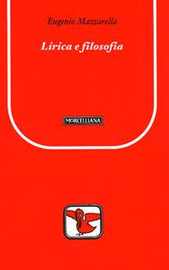 Libro Lirica e filosofia Eugenio Mazzarella