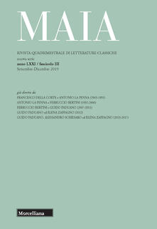 Antondemarirreguera.es Maia. Rivista di letterature classiche (2019). Vol. 3: Esperienze a confronto. Image