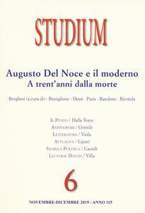 Libro Studium (2019). Vol. 6: Augusto del Noce e il moderno. A trent'anni dalla morte.