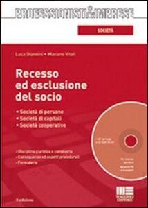 Foto Cover di Recesso ed esclusione del socio. Con CD-ROM, Libro di Luca Giannini,Mariano Vitali, edito da Maggioli Editore