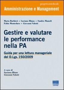 Gestire e valutare le performance nella PA