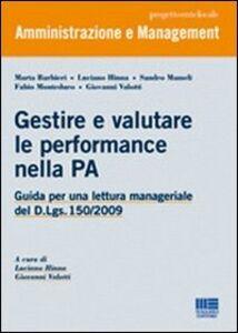 Libro Gestire e valutare le performance nella PA