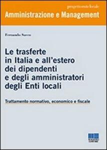 Le trasferte in Italia e all'estero dei dipendenti e degli amministratori degli enti locali - Fernando Sacco - copertina