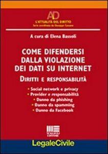 Foto Cover di Come difendersi dalla violazione dei dati su internet. Diritti e responsabilità, Libro di Elena Bassoli, edito da Maggioli Editore
