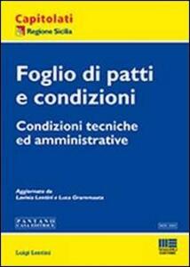 Foglio di patti e condizioni - Luigi Lentini - copertina