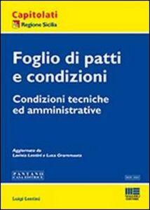 Libro Foglio di patti e condizioni Luigi Lentini