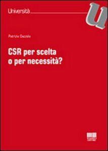 Libro CSR per scelta o per necessità? Patrizia Gazzola