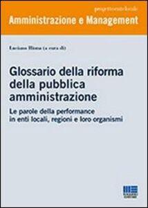 Libro Glossario della riforma della pubblica amministrazione Luciano Hinna