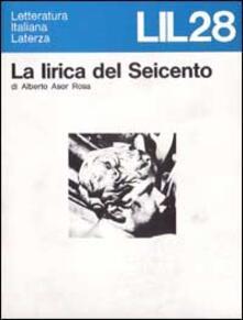 La lirica del Seicento - Alberto Asor Rosa - copertina