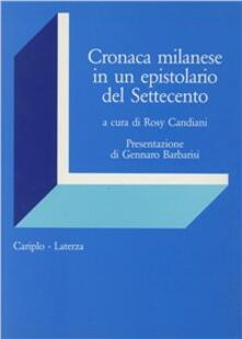 Cronaca milanese di un epistolario del Settecento - copertina
