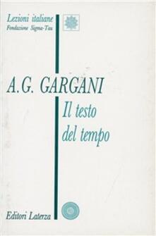 Il testo del tempo - Aldo Giorgio Gargani - copertina