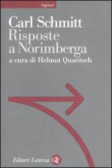 Risposte a Norimberga - Carl Schmitt - copertina