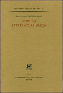Scritti di letteratura greca - Fabio M. Giuliano - copertina