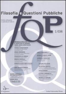 FQP. Filosofia e questioni pubbliche (2008). Vol. 1 - copertina