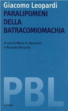 Giacomo Leopardi. Paralipomeni della batracomiomachia - copertina