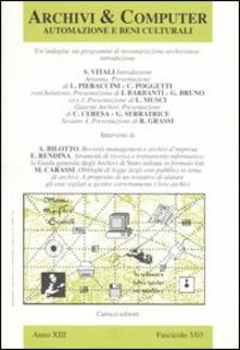 Parcoarenas.it Archivi & computer. Automazione e beni culturali (2003). Vol. 3 Image